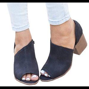 Side Cut Peep Toe Chunky Block Low Heel Booties